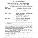 CALENDARIO PROVE DEL CONCORSO PER N. 2 POSTI DI INFERMIERE PROFESSIONALE CAT. D1